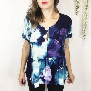 NWT JUICY COUTURE peplum top blue watercolor